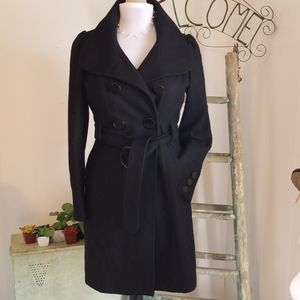 Guess black belted wool trench coat